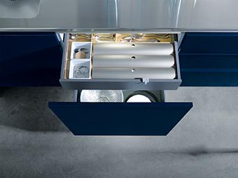 Kuchyně NX 501 Indigo modrá vysoký lesk výsuv