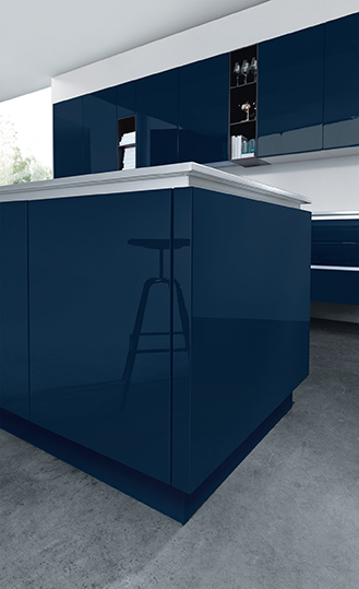 Kuchyně NX 501 Indigo modrá vysoký lesk
