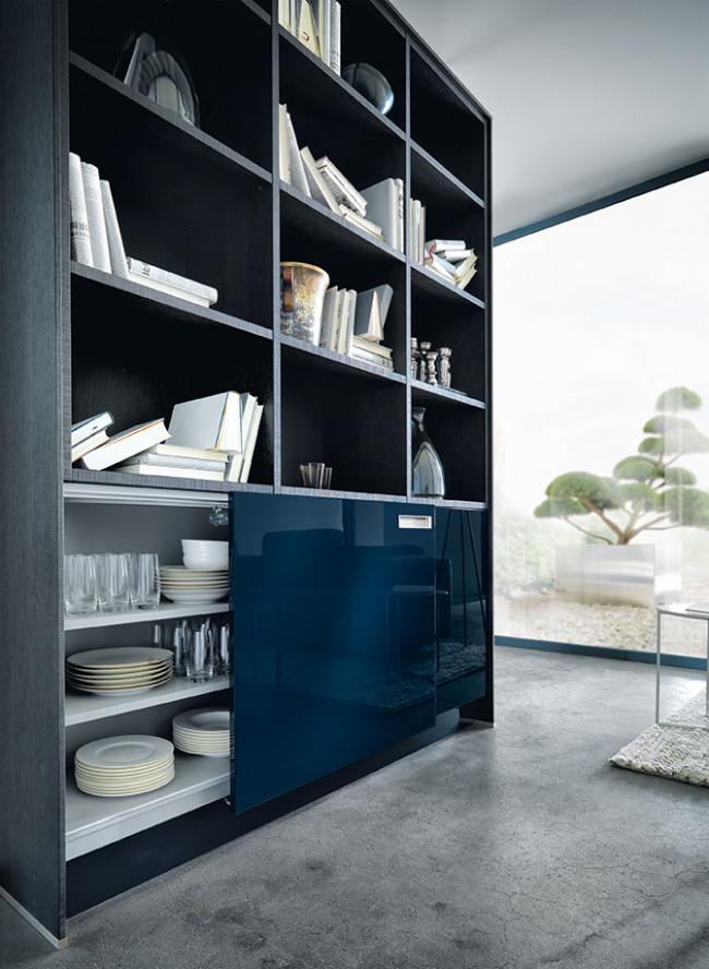 Kuchyně NX 501 Indigo modrá vysoký lesk stena