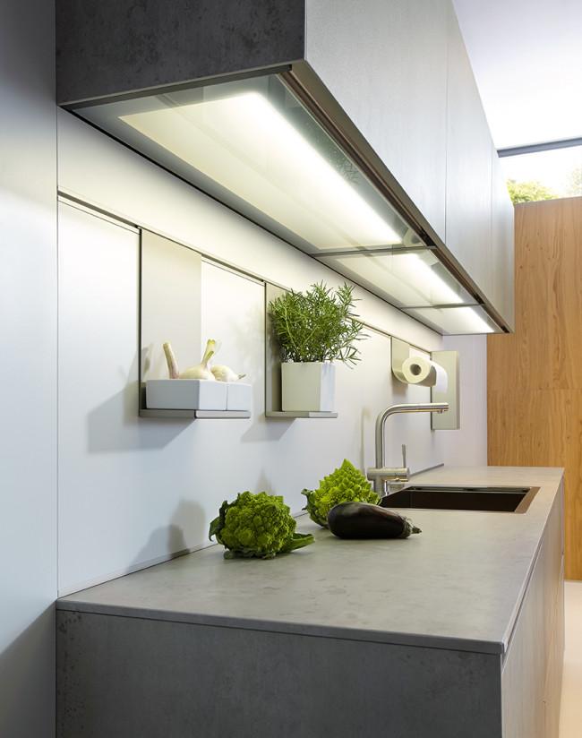 Kuchyně NX 950 Keramika beton šedý - LED cube