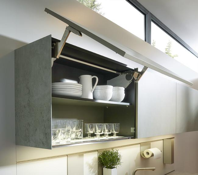 Kuchyně NX 950 Keramika beton šedý - vyklápěcí skříňky