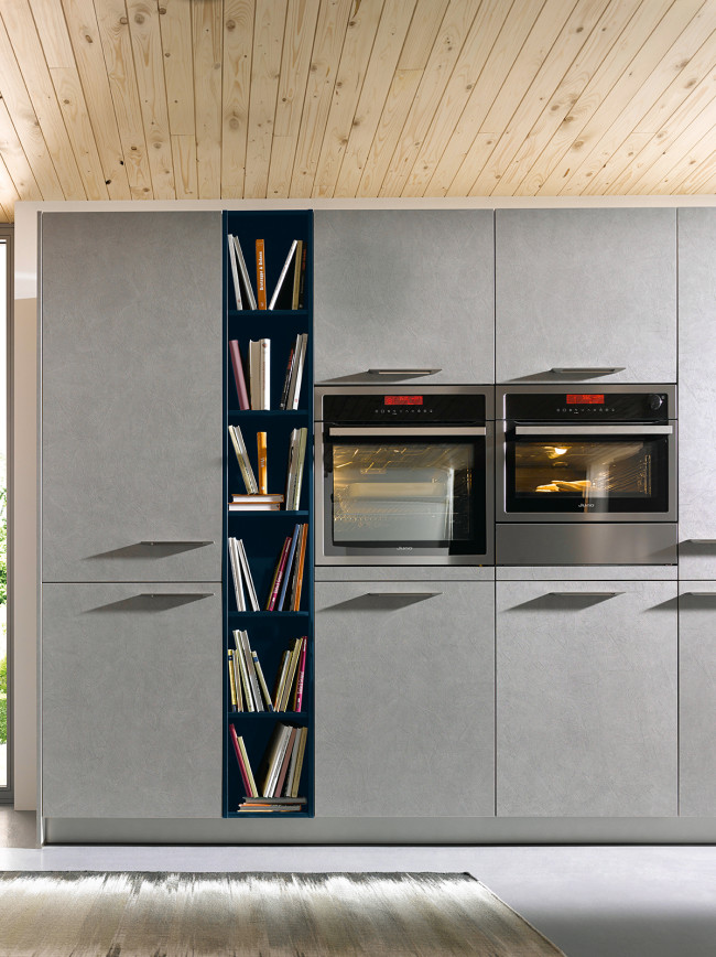 Kuchyně Schüller ELBA beton šedý - stěna se spotřebiči