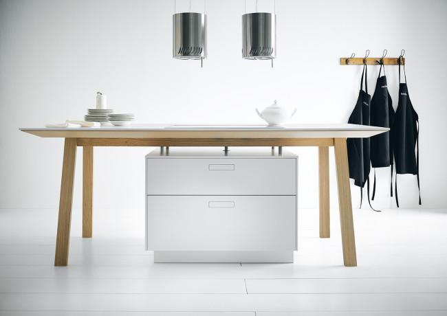 Kuchyně next125 NX800 Solid polární bílá - stůl s varným ostrůvkem